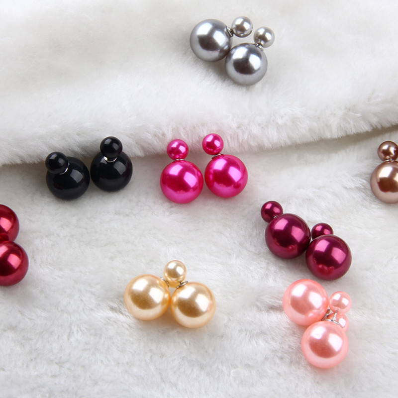 5498f1cd01918 16 Choics Candy Colour Pendientes Earrings Ball Shape Plastic Stud Earring  Double-sided pearl Colored ear studs oorbellen M0322