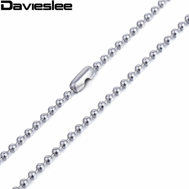 3mm Thin Gold Tone 2mm Silver Tone Bead Ball Boys Girls Womens Mens Chain Stainless Steel Necklace Wholesale Gift Jewelry LKN357