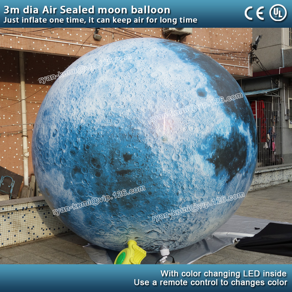3 meters Diameter Inflatable moon sphere balloon with LED light