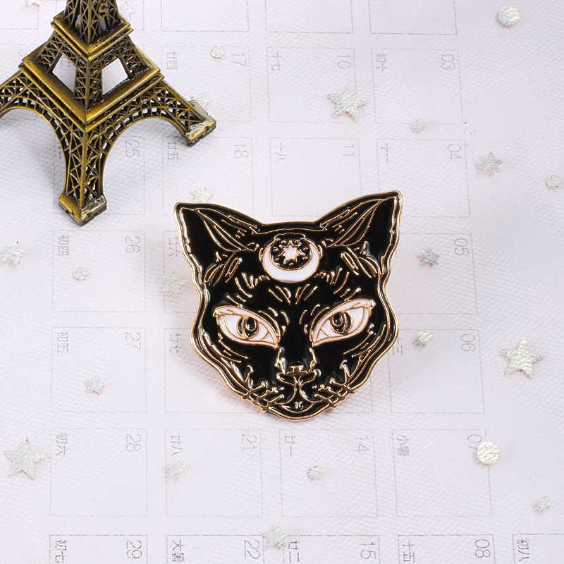 Animal emblema esmalte pinos broche preto branco gato peixe monstro botão camisa jaquetas feminino bonito broches crianças jóias acessórios