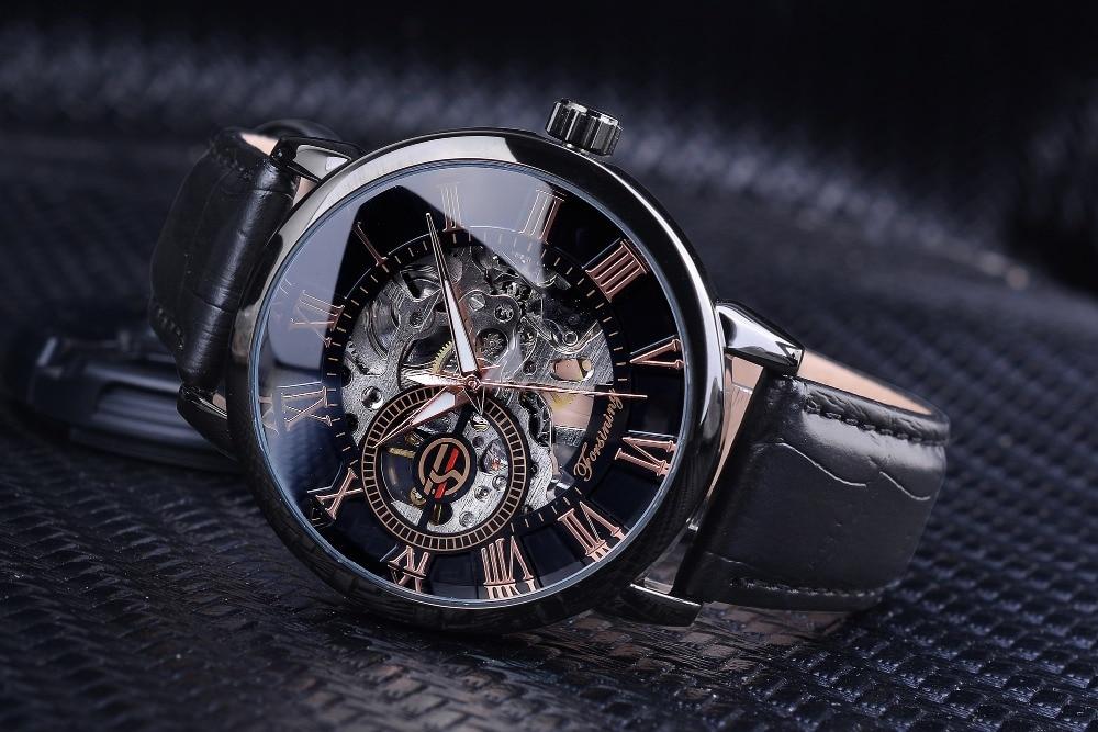 HTB1w7QdgbrpK1RjSZTEq6AWAVXaW Forsining Men Watches Top Brand Luxury Mechanical Skeleton Watch Black Golden 3D Literal Design Roman Number Black Dial Clock