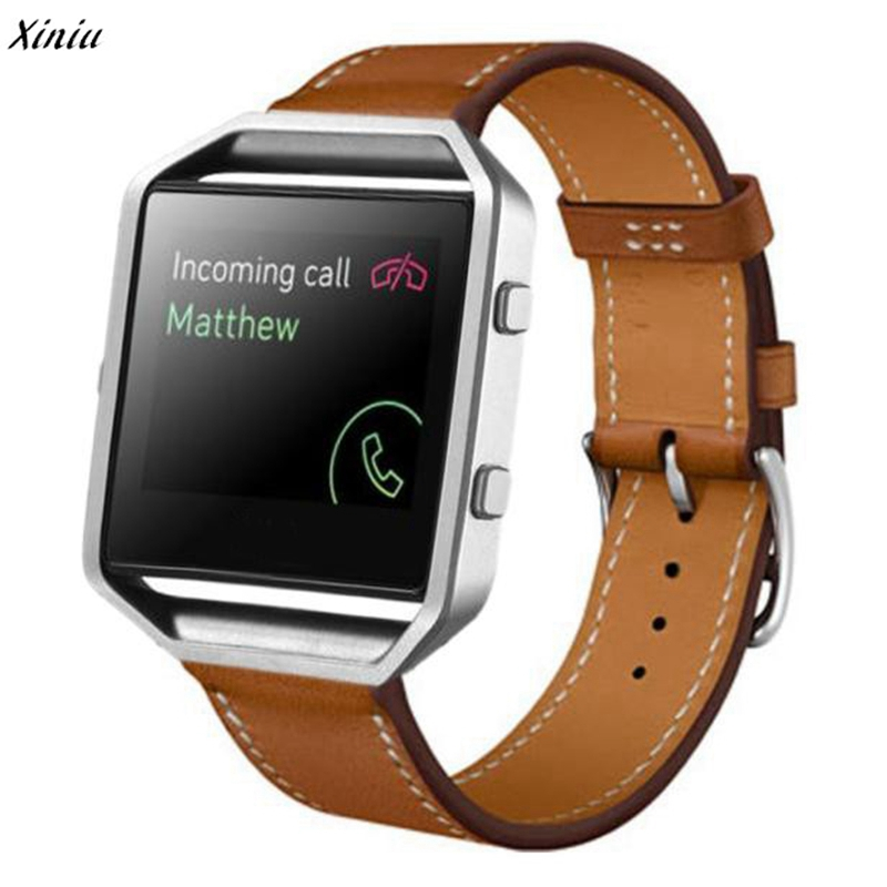Xiniu Watchband For Fitbit Blaze Smart Watch 23mm Luxury Brand PU Leather Watches Wrist Strap Replacement best price fashion luxury leather watch band wrist strap for fitbit blaze smart watch freeshipping
