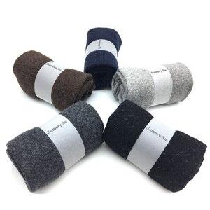 Image 2 - 5 paare/los Neue Wolle Männer Weibliche Socken Marke Mode Winter Warme Kaschmir Socken Atmungsaktive Feste Farben Meias Herren Süße Geschenk