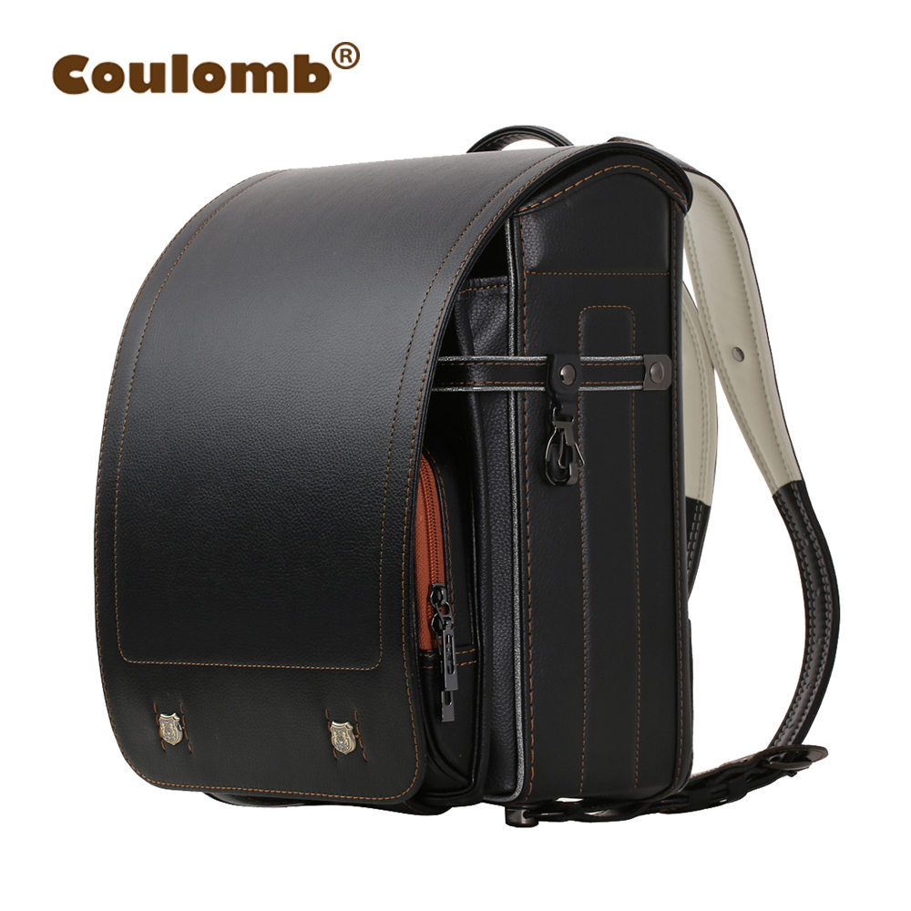 Coulomb Kid Backpack For Luxury School Bag For Boy And Girl Japanese PU Hasp Solid Randoseru Orthopedic Children Backpacks 2017 fashionable see through gauze one piece swimwear for women