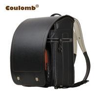Coulomb Kid Backpack For Luxury School Bag For Boy And Girl Japanese PU Hasp Solid Randoseru Orthopedic Children Backpacks 2018
