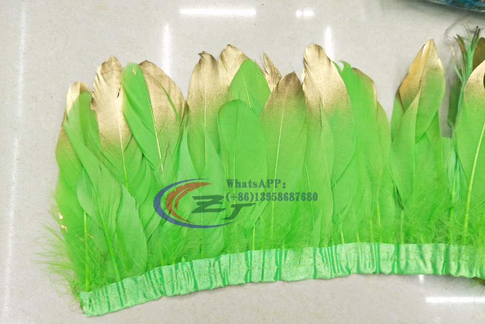 New Arrivals Gold Tips Goose feather trims 2yards /lot Lime Green Dyed geese feather ribbons 15-18cm Duck feather fringes