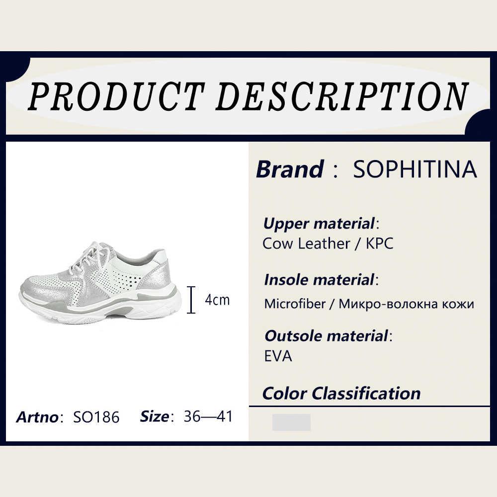 SOPHITINA moda spor ayakkabı hakiki deri hafif dantel-up kadın Flats yuvarlak ayak ayakkabı el yapımı rahat gümüş daireler SO186