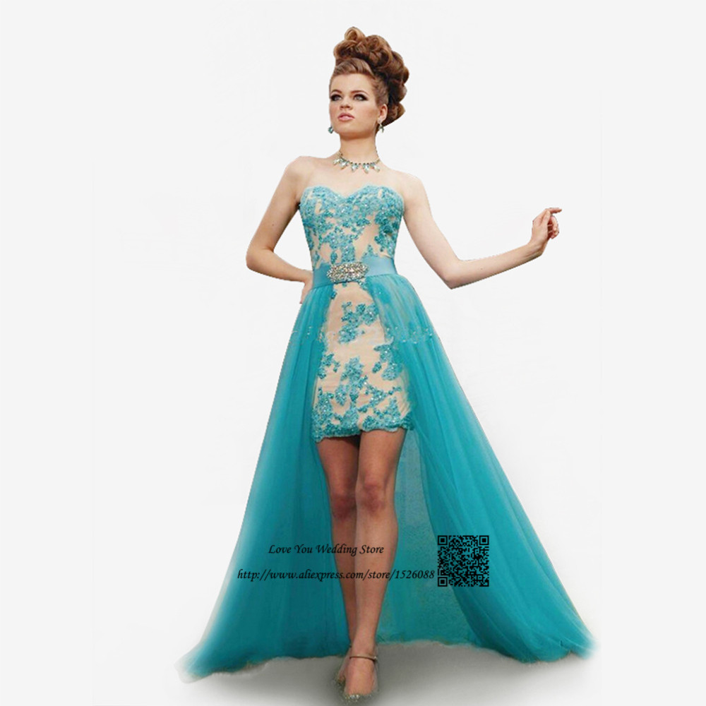 Vestidos de Formatura Turquoise Lace Prom Dress Removable Skirt ...