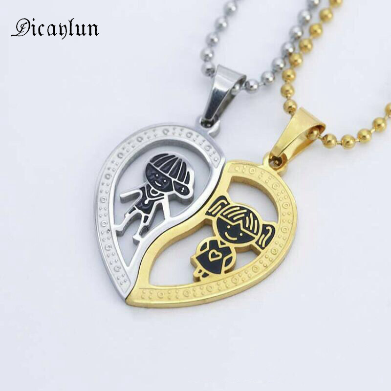 b7e87b81cf Buy split heart necklaces for couples and get free shipping on  AliExpress.com