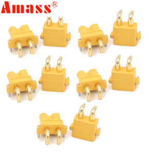 Image 2 - 100 x AMASS XT30PW Banana golden XT30 Upgrade Right Angle Plug Connector male female ESC Motor PCB board plug connect (50 Pair )