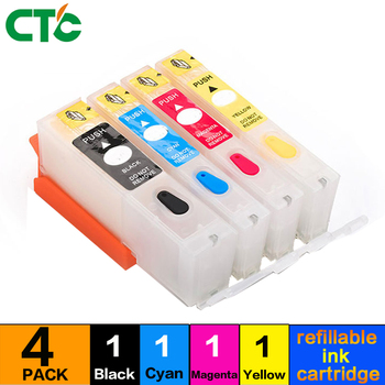 4 Colors Compitalbe For 655 Refillable Ink Cartridge With Chip For Deskjet 3525 4615 4625 5525 6525 Printer image