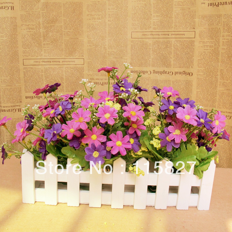 White Color Wooden Fence Artificial Flower Pot Wooden Vase Flower Holder Home or garden Decoration 30*7cm ...