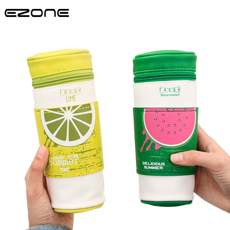 EZONE 1 PC Cute Fruit Cup Pen Bag PU Leather Water Proof Portable Big Capacity Pencil Case School Supply Stationery For Children in Pencil Bags from Office School Supplies