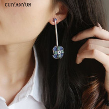 CUIYANYUN Rhinestone windmill multicolor Bohemia women dangle earrings trendy blue girls long fashion jewelry wedding