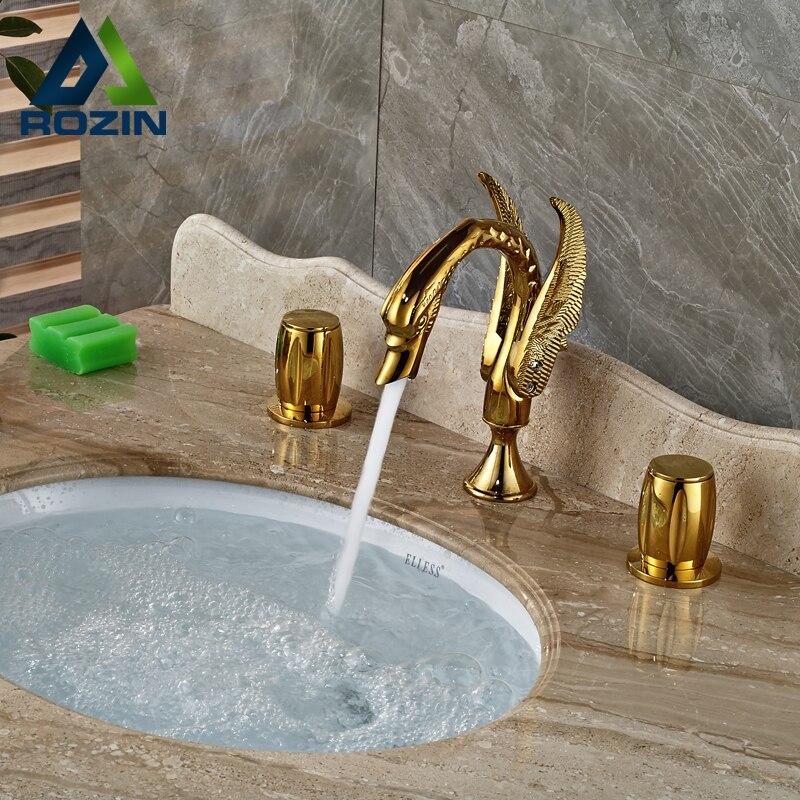 Swan Shape Luxury Golden Basin Sink Faucet Widespread Dual Handle Bathroom Mixers Hot Cold Water Taps