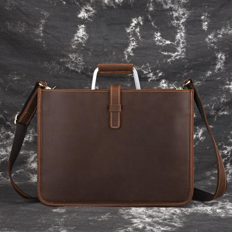 New Crazy Horse Genuine Leather Business Briefcase 14 Portfolio Handbag Men Slim Messenger Bag Male Crossbody