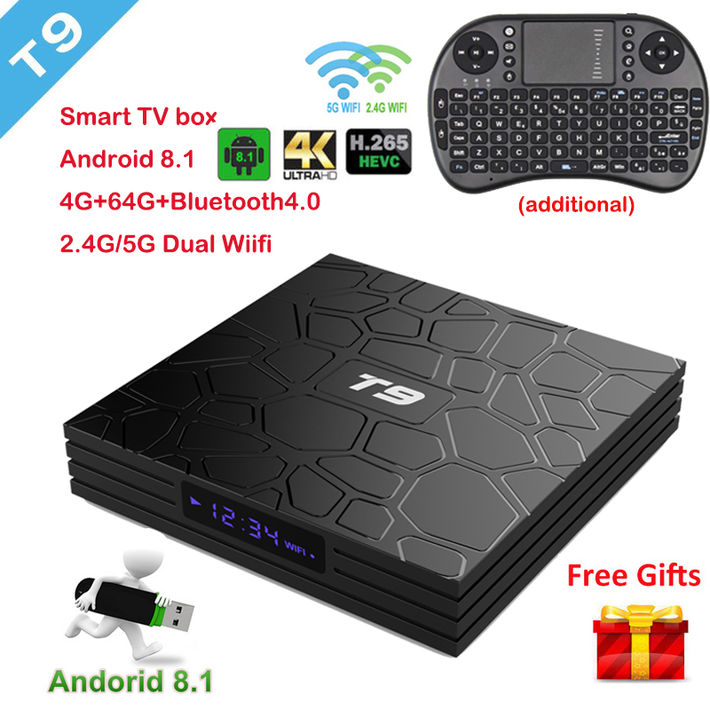 T9 Android 8.1 TV Box Bluetooth 4.0 RK3328 Quad Core 4GB RAM 64GB ROM USB 3.0 Smart 4K HD Set Top Box Optional 2.4G/5G Dual WIFI t9 android 8 1 tv box bluetooth 4 0 rk3328 quad core 4gb ram 64gb rom usb 3 0 smart 4k hd set top box optional 2 4g 5g dual wifi