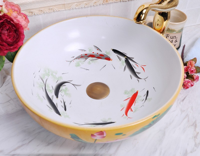 China Painting Fish Ceramic Painting Art Lavabo Bathroom Vessel Sinks Round Counter Top Deep Basin Sink