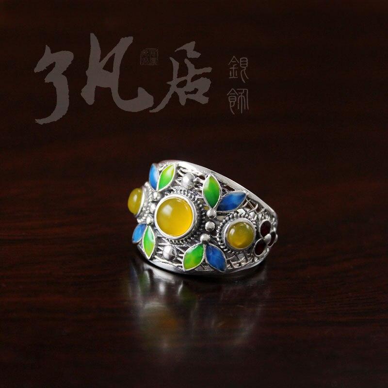 2018 nouveau haute qualité femmes bijoux 925 en argent sterling naturel pierres semi-précieuses jaune calcédoine anneaux rétro amoureux cadeau