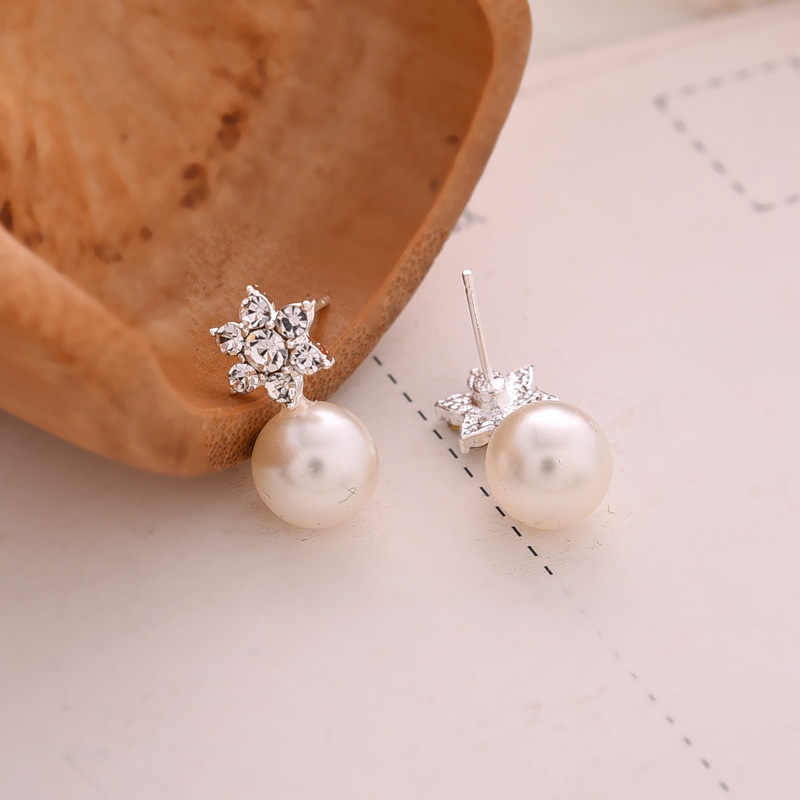 Pendientes de cristal de joyería de moda coreana pendientes de perlas grandes pendientes elegantes de mujer hermosos pendientes de copo de nieve de joyería