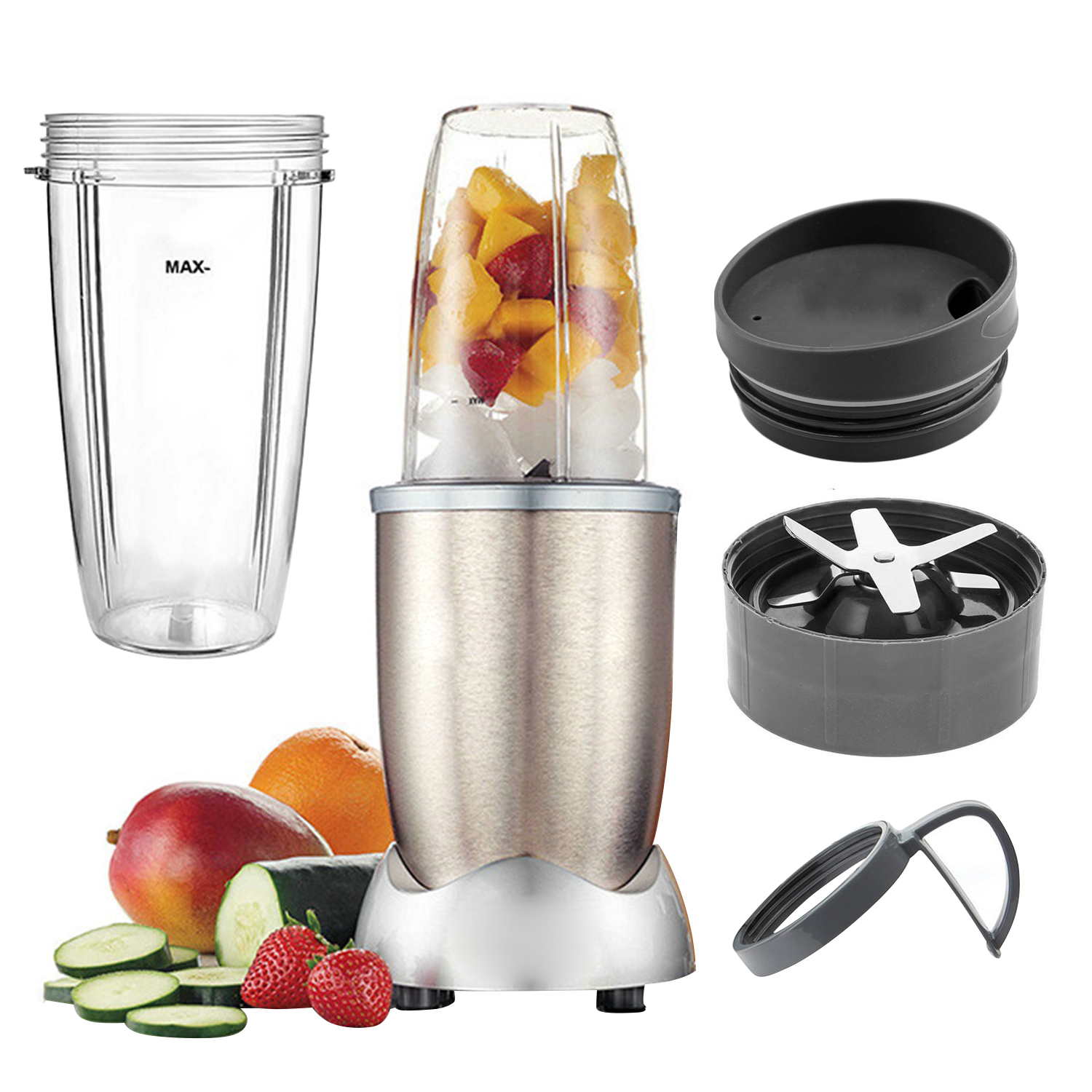 Behogar 4PCS Blender Replacement Parts Accessories Kit With 32OZ Cup Lids Handle Cross Blade For NUTRIBULLET 900W
