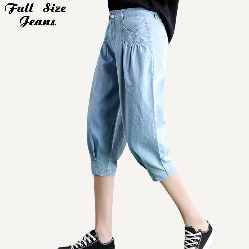 938cca3e512391 Plus Size Azul Branco Namorado Solta Calça Jeans Capris 7Xl Mulher Verão  Feminino Comprimento Bezerro Ultra Fino Shorts Jeans Calças de Brim femme