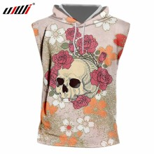 2d609092656bc UJWI 3D Printed Beautiful Wreath Skulls Hooded Tank Top Men s Spandex  Clothing New Arrivals Tee Shirt Chinese Style Man