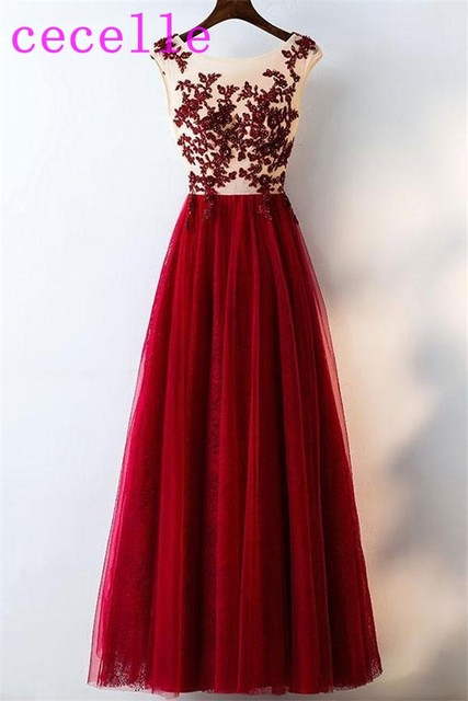 f6183895bd Sexy Long Dark Red Prom Dresses Beaded Lace Appliques Illusion Top Tulle  Skirt Floor Length Seniors