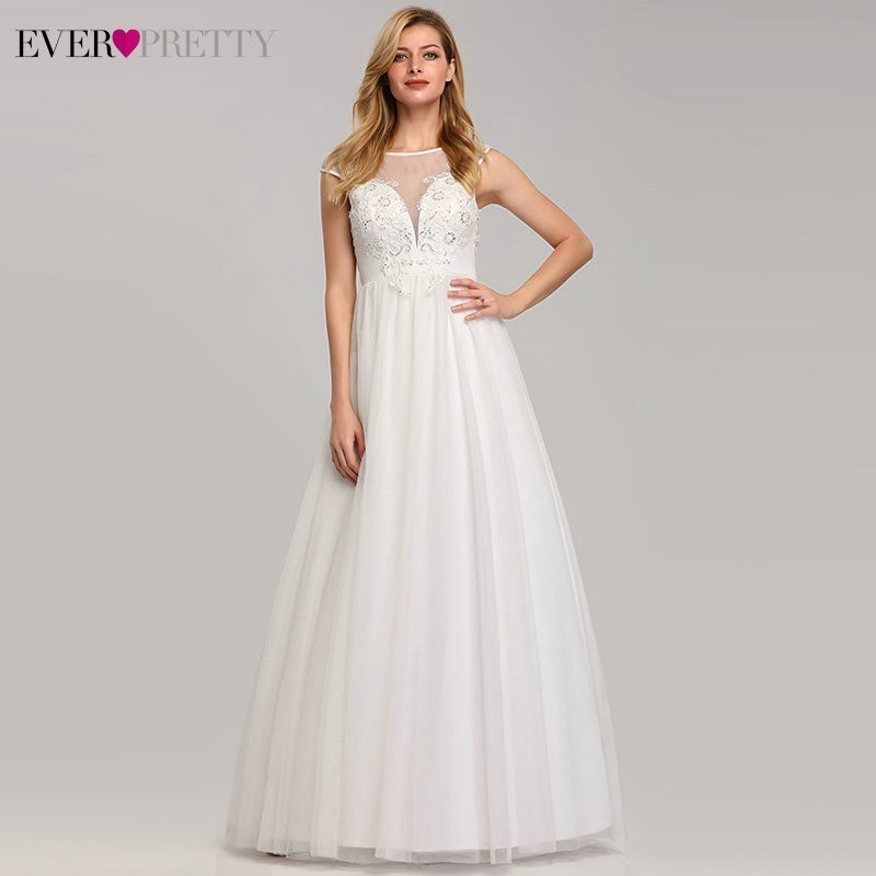 Plus Size A-Line Wedding Dress Ever Pretty EP07839 Sexy Lace Appliques Cheap Simple Maxi Bride Dress Vestidos De Novia 2019