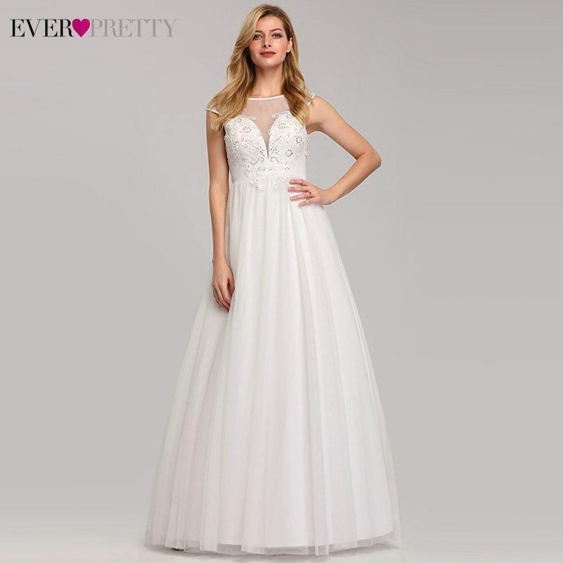 Plus Size A-Line Wedding Dress Ever Pretty EP07839 Sexy Lace Appliques Cheap Simple Maxi Bride Dress Vestidos De Novia 2020