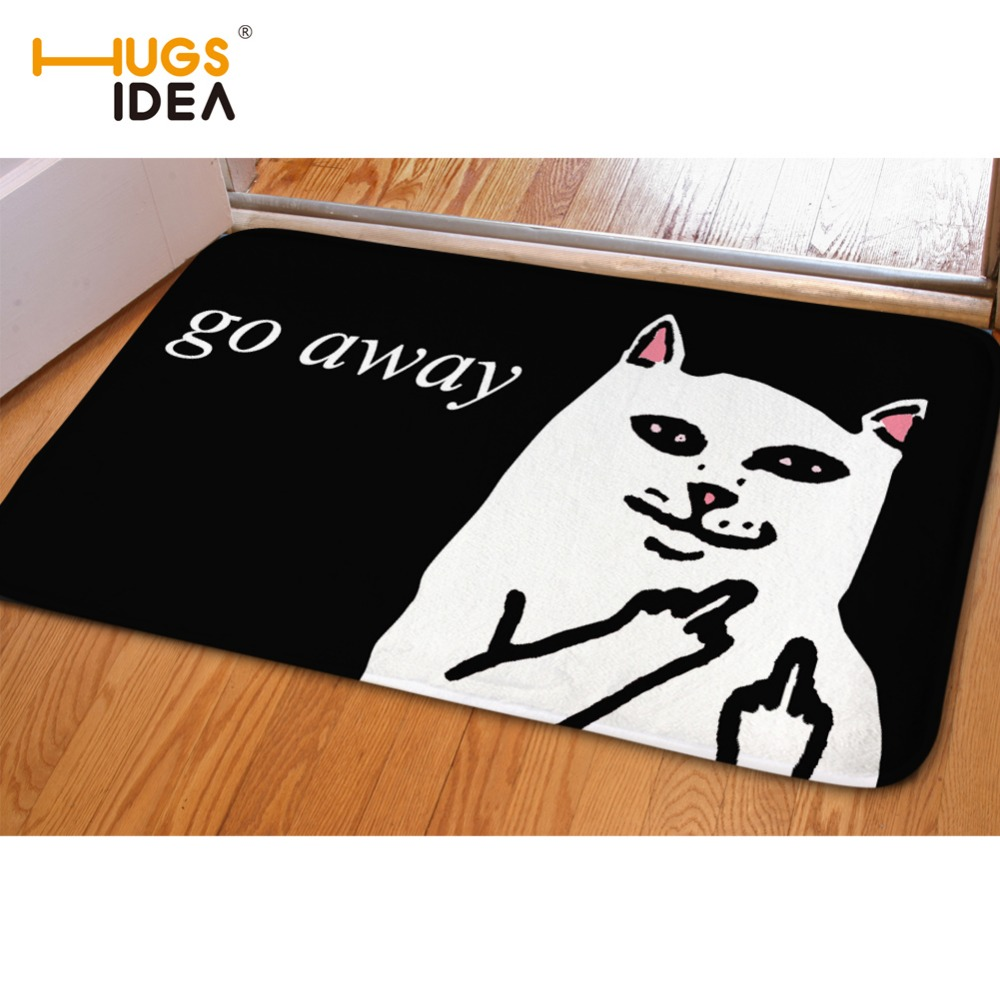 HUGSIDEA Cute 3D Cat Go Away Floor Carpets Rugs for Living Room Kitchen Bathroom Mat Funny Home Entrance Door Carpet Tapete Para