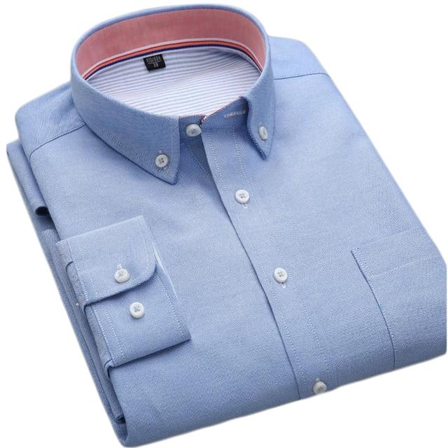 2017 Весна Новый Дизайн Чистый Цвет Оксфорд Рубашки С Длинным рукавом Бизнес Рубашки для Мужчин Хлопка Высокого Качества Мужчины Случайные рубашки