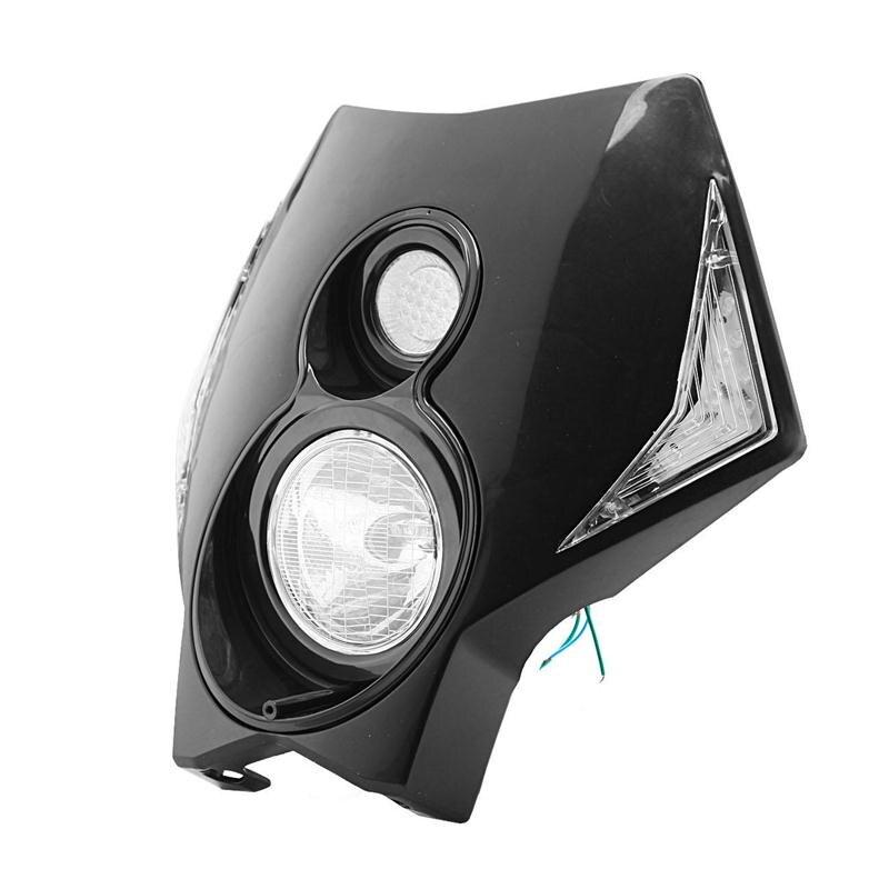 Black Enduro Style Motorcycle Headlight Fairing Kit Hi Lo Beam White LEDs Lighting Universal For Yamaha