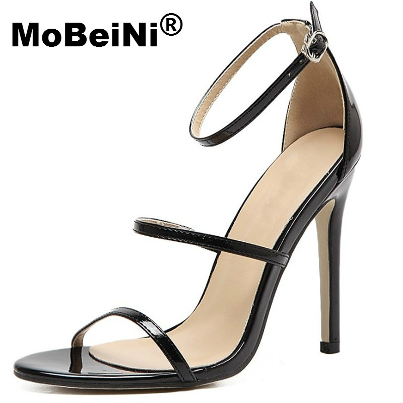 MoBeiNi New Women Sandals 2017 Summer Gladiator Sandals Women Ankle Strap 10 cm High Heels Open Toe Women Summer Dress Shoes купить