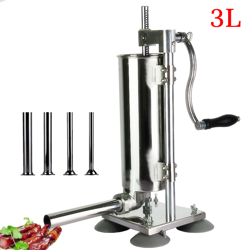 Vertical Manual Sausage Stuffer Machine 3L Stainless Steel Sausage Maker Filling Sausage Filler Meat Tools