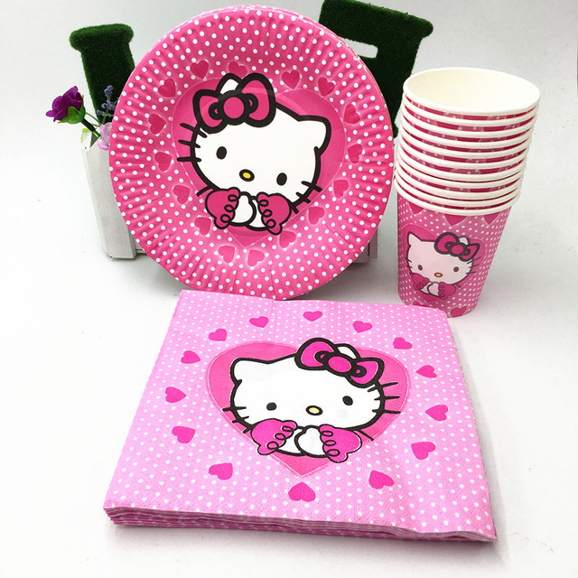 60pcs/lot kitty paper plates paper cups kitty paper napkins 20 people use cartoon kids : paper plate people - Pezcame.Com