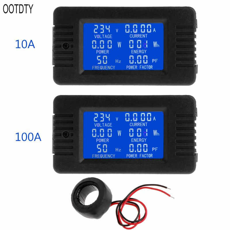OOTDTY 6in1 Digitale AC 80 ~ 260 V Power Energy Monitor Spanning Stroom KWh Watt Meter 100A