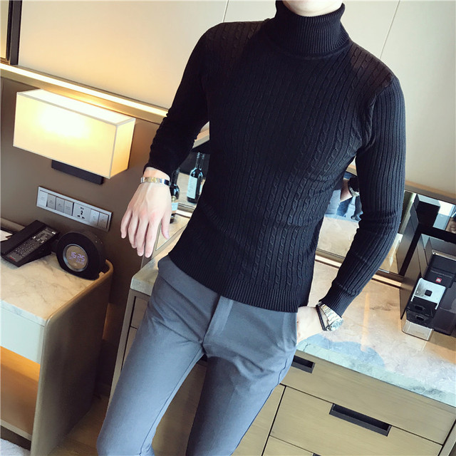 5 Colors Men Turtleneck Sweater  1