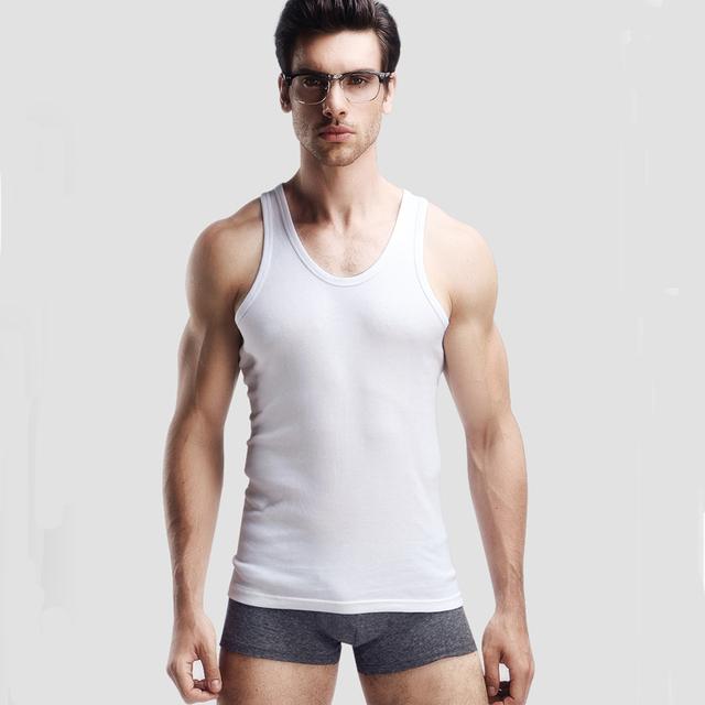 3PCS Men's Undershirt Bottoming Clothing Cotton Men Casual Sleeveless Tank Vest Slim Solid Male Undershirt Top Underwear Men