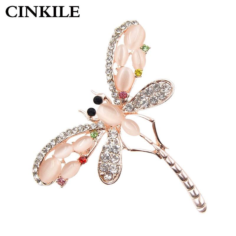 CINKILE 2 اللون متاح عصري العقيق حجر الراين اليعسوب دبابيس للنساء الفاخرة الجميلة مجوهرات اللباس معطف بروش دبوس