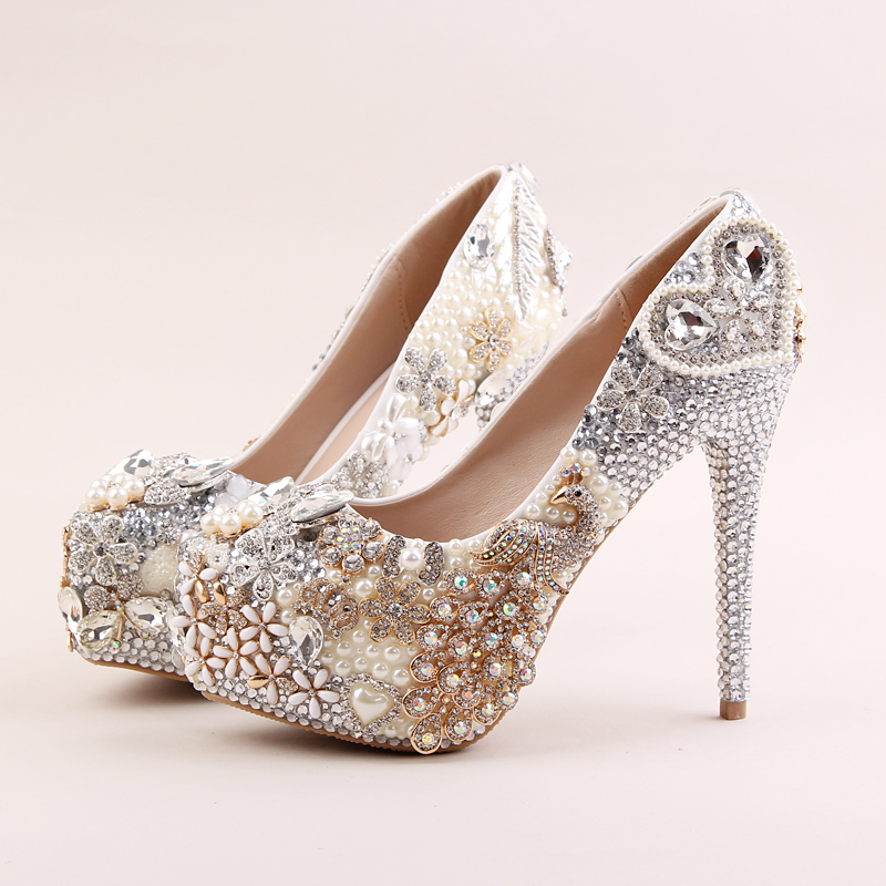 Phoenix Pearl Flower Rhinestone ultra fine with female high-heeled shoes bride wedding wedding shoes stage party shoes