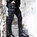 Alta Qualidade de Moda de Nova Mens Skinny Multi Bolsos Motociclista Punk Rock Jeans Relevo Plissado Calças Jeans Calças Tamanho Preto