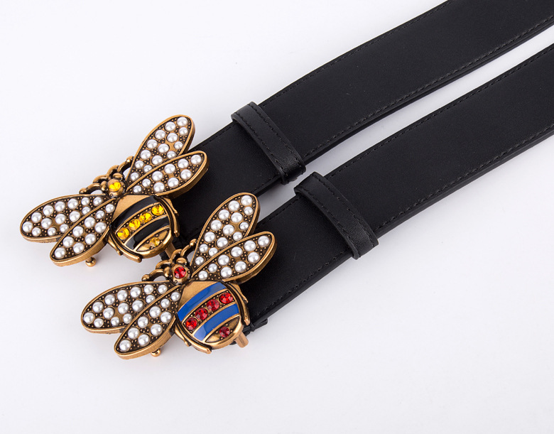 2018High quality design lady bee buckle belt, the famous designer Gg double belt brand, fashion leather women belt 154