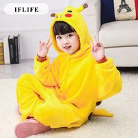 Pijama Infantil Onesie Hooded Kids Animal Cartoon Pajama Pikachu Yellow Children Boy Girl Unisex Pyjama