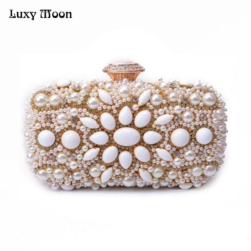Women Fresh Water Pearl Bead Clutch Vintage Stone Evening Bags Elegant Bridal Wedding Bag Party Purse Crystal Diamond Day Clutch lanso new diamond ostrich feathers shoulder bag pearl priting diamond handbags women evening bags party purse wedding clutch