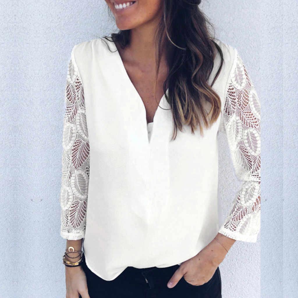 2019 новые осенние женские белые с v-образным вырезом Женские шифоновое кружево крючком топы блузки женская одежда женские блузы Y5