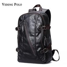 VIDENG POLO Fashion Casual Brand Leather Mens Travel Backpacks Cool Multifunctional Laptop Backpacks Mens Backpack Bag Male Bag