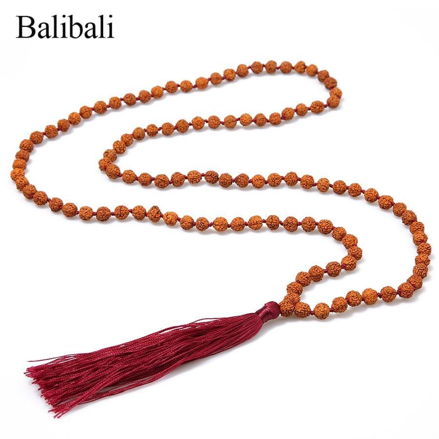 871aa3c0f Balibali Natural Rudraksha náhrdelník 108 Mala korálky Strand ...