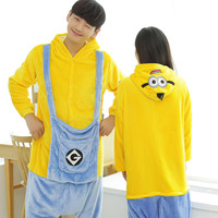 Adult Minion Pajamas Set Flannel Pyjama Mujer Hooded All In One Anime Sleepwear Cute Couple Pijama