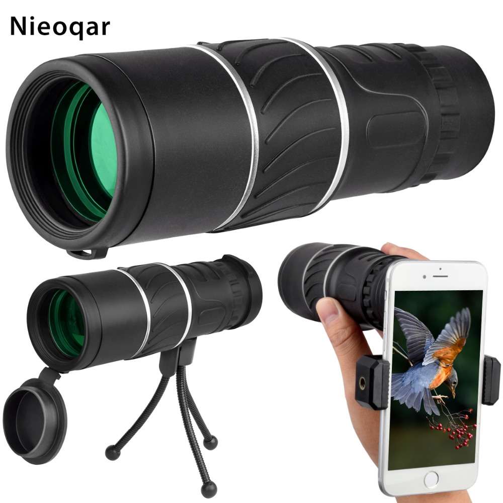 16 x 52 Dual Focus Monocular Spotting Telescope Zoom Optic Lens Binoculars Coating Lenses Hunting Optic Scope Phone Clip Tripod(China)